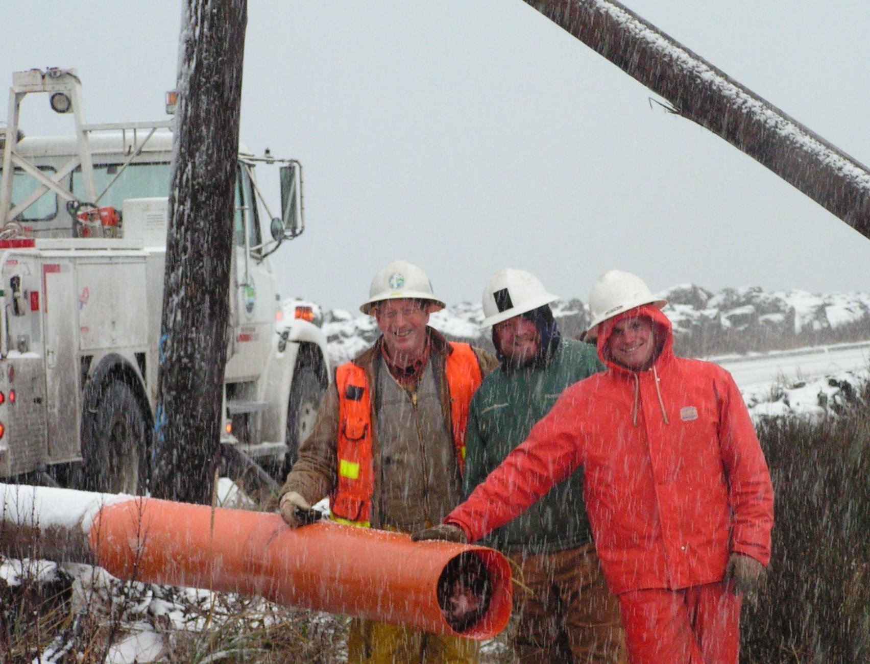 Linemen in snow